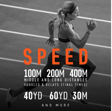 Track any sprint distance from 5yards to 800 meters or more