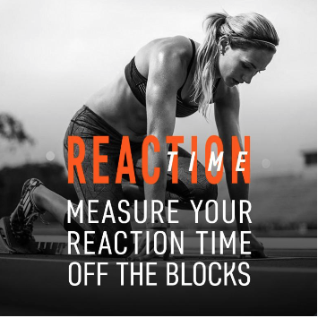 For the first time with a wearable tech device in sports performance can you now track your reaction time.  Simply select distance, select audible mode, select start on the phone screen, and you are ready to go!