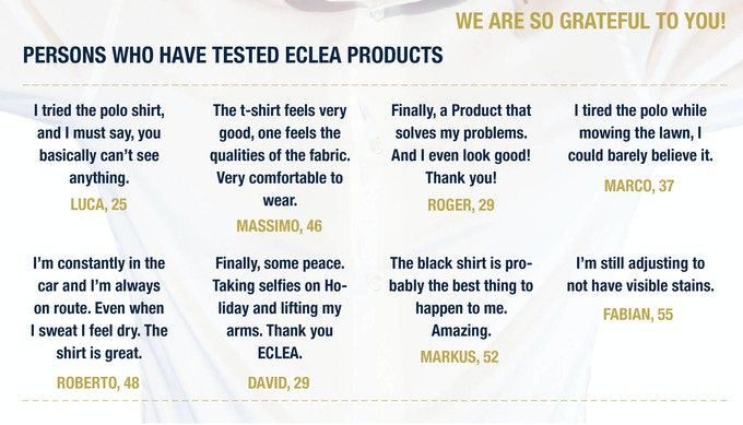 TEST PERSONS ABOUT ECLEA PRODUCTS