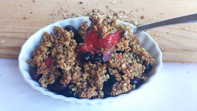 We ground up Mix-Ins with a hint of maple syrup to make a delicious, paleo cobbler topping