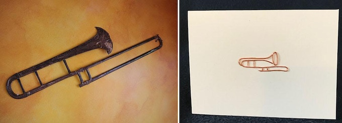 """L: the original """"flat trombone""""; R: the wire on paper Note Card"""