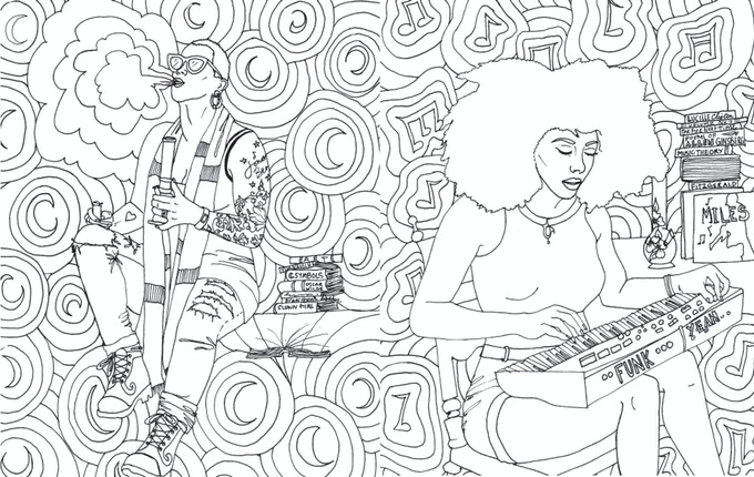 The stoner babes coloring book by microcosm publishing kickstarter - Coloriage feuille de cannabis ...