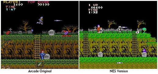 Graphic comparison between the original arcade of Ghost And Goblins and its conversion of NES.