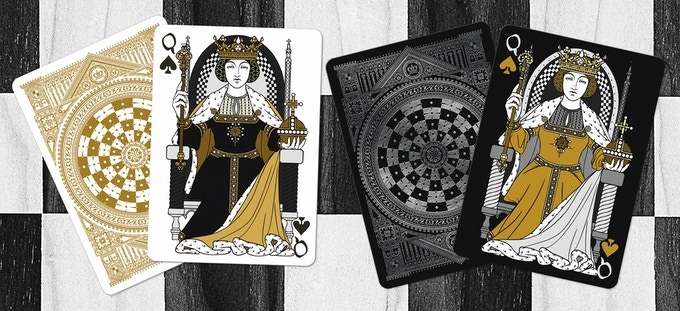 Black Queen as the Queen of Spades (Black deck on left & White deck on right)
