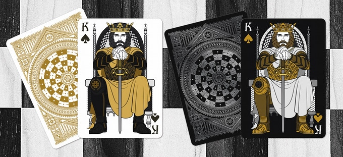 Black King as the King of Spades (Black deck on left & White deck on right)