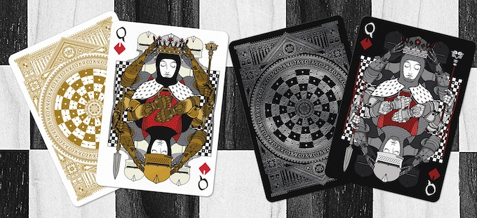 White Pawns as the Queen of Diamonds (Black deck on left & White deck on right)