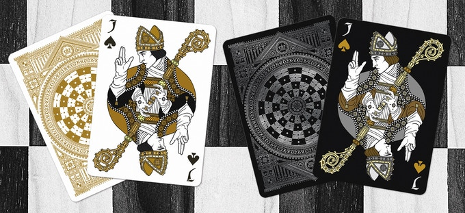 Black Bishops as the Jack of Spades (Black deck on left & White deck on right)