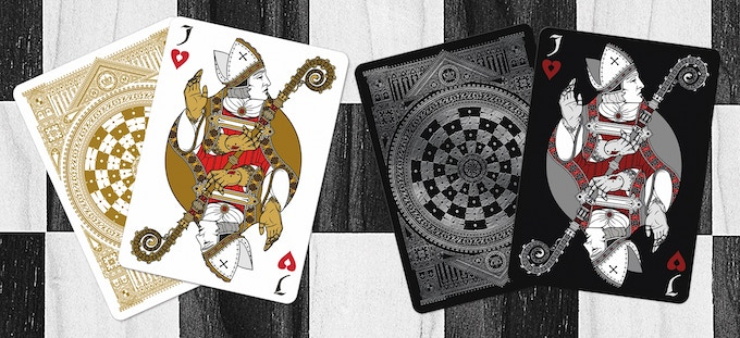 White Bishops as the Jack of Hearts (Black deck on left & White deck on right)