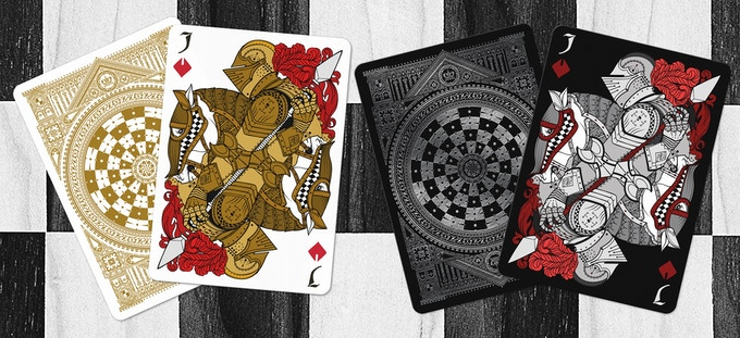 White Knights as the Jack of Diamonds (Black deck on left & White deck on right)