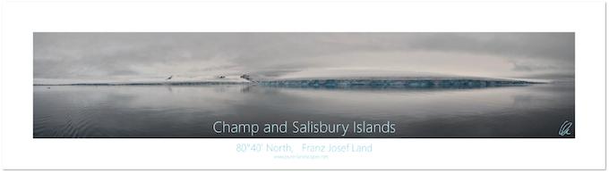 Canvas print of Salisbury Island's glacier reflections (200 x 80 cm).