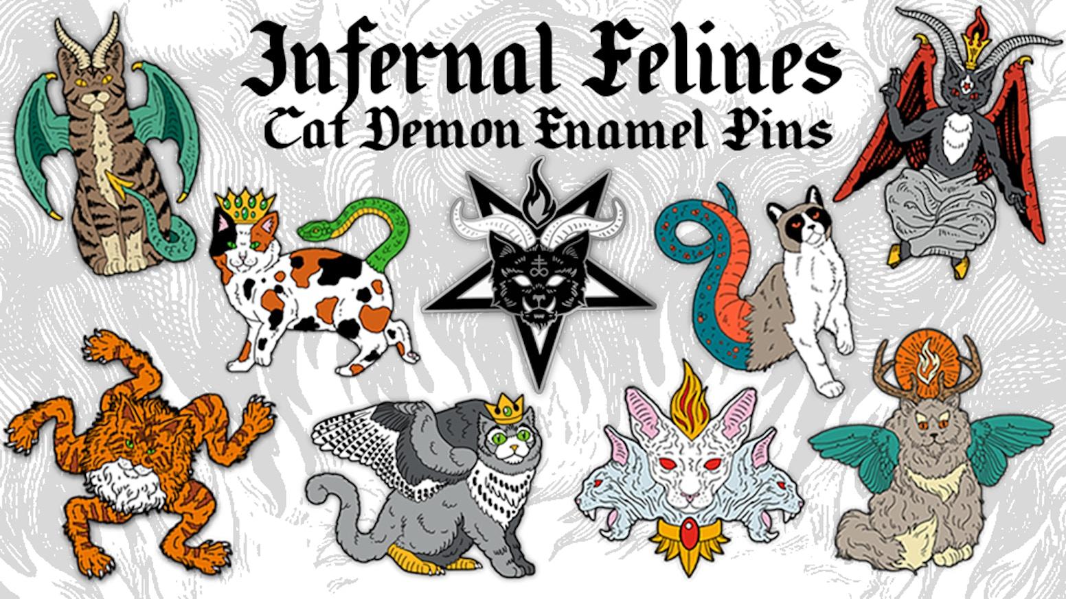 Infernal Felines: Cat Demon Enamel Pins by Nikol King — Kickstarter