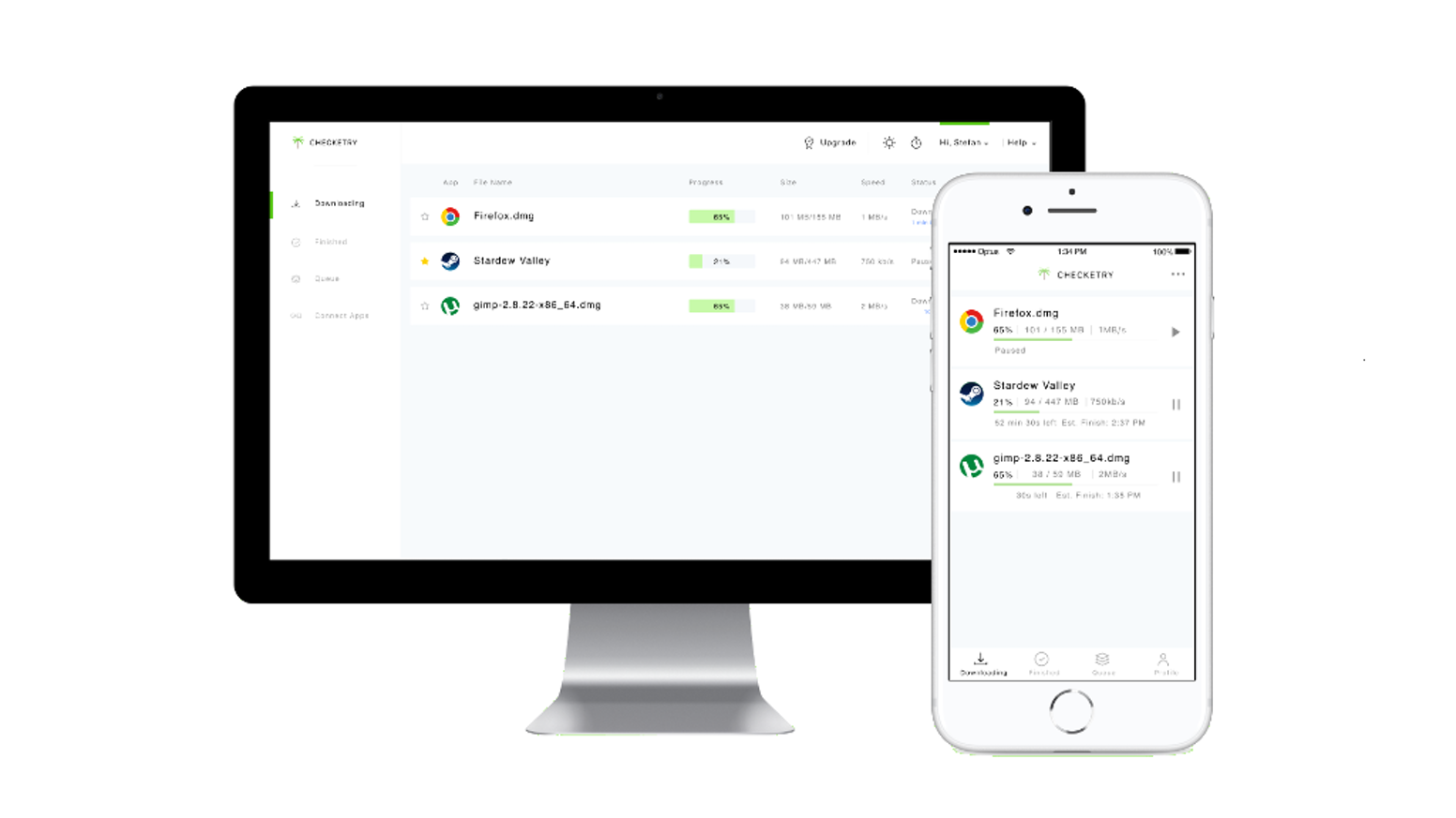 Checketry is a download manager that lets users track download progress from one device on another.
