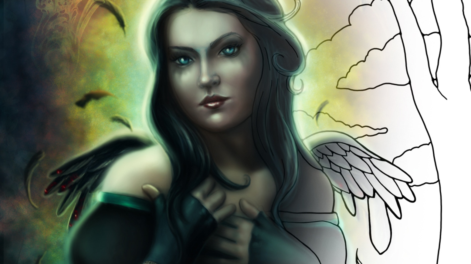 A coloring book of fallen angels, gothic fairies, vampires, werewolves, and more! Oh my!