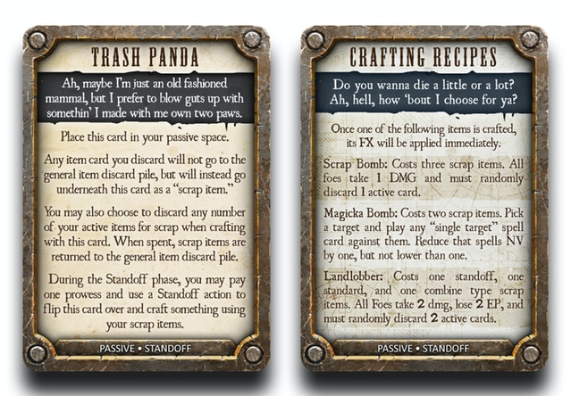 Grimslingers game publisher greenbrier games on the back of the trash panda card is a list of recipes for bombs you can build with your scrap items and throw in your opponents face fandeluxe Images