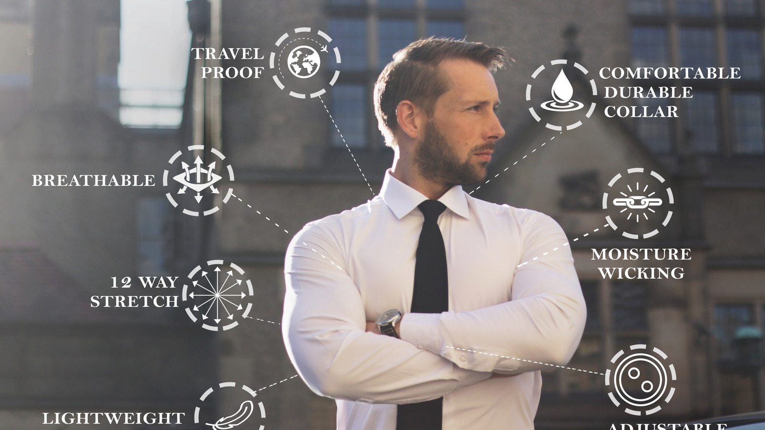 Featuring multiple features, designed with luxury performance fabrics; the perfect travel shirt for the modern man.