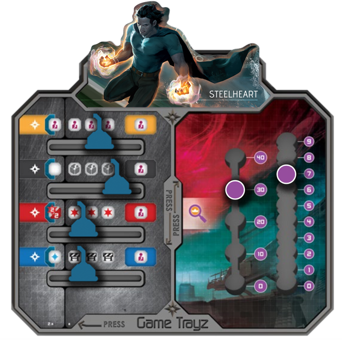 Steelheart Tray, Action Tracks, and Weakness Board. Note: The Power Tracks can be adjusted for difficulty.