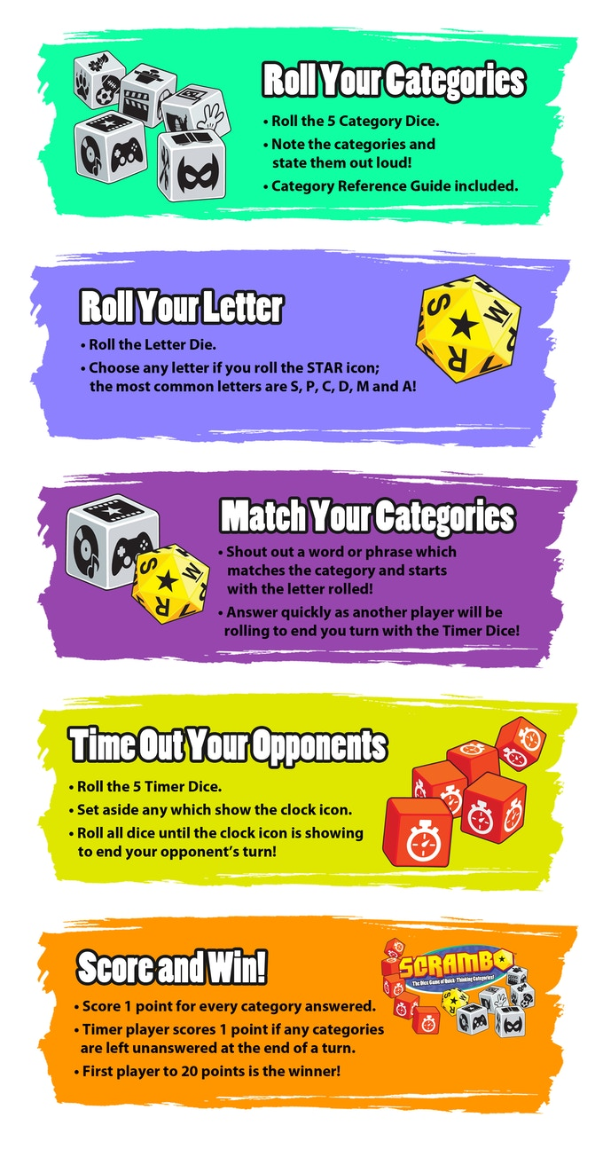 Scrambo The Dice Game Of Quick Thinking Categories By Avanti