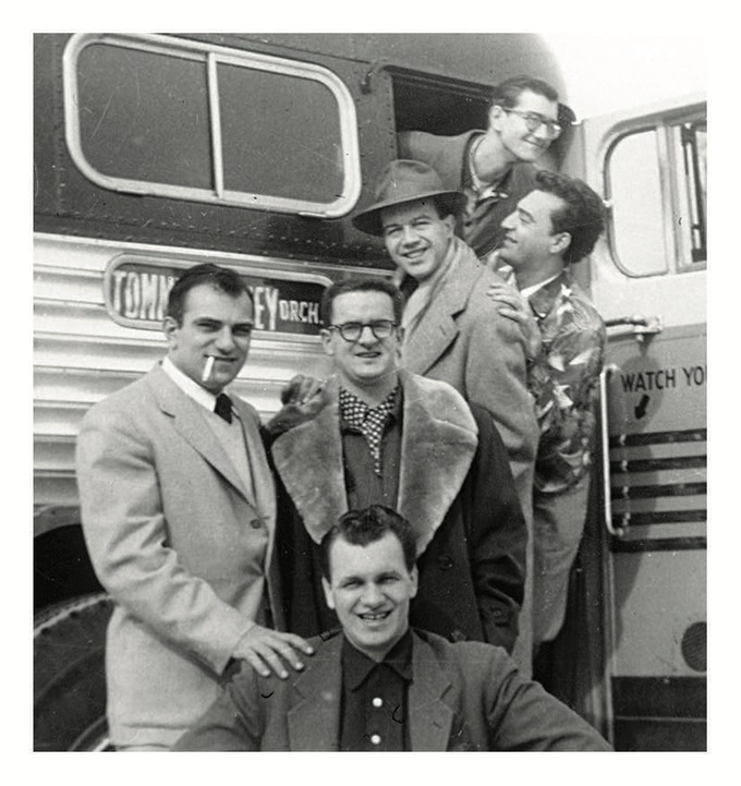 Sammy (w cigarette) and the Tommy Dorsey Band boarding a bus in 1954