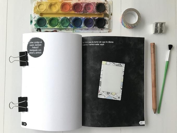 En las páginas interiores puedes dibujar, hacer anotaciones, pegar...