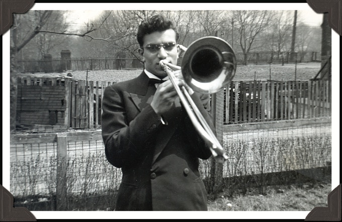 A young Sammy, trombone in hand