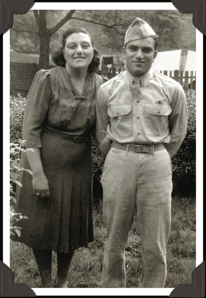 Sammy the military man, with mom