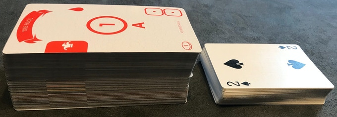 Thick, durable cards (and a lot of them!) Compare to a standard deck of cards.