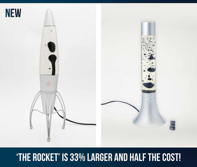 The new rocket lamp (on the left) also has an improved formula.