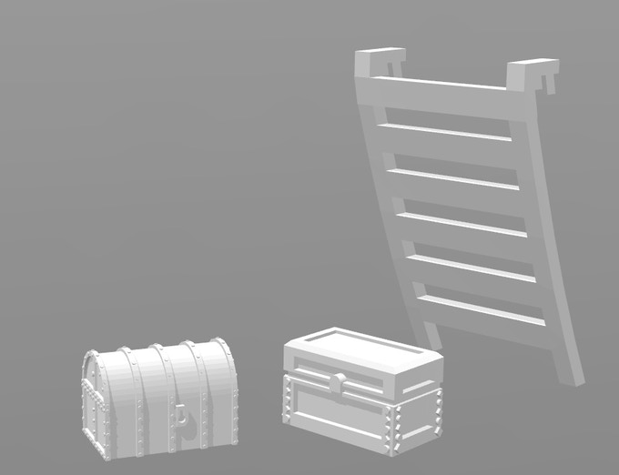 Rough models of chests and rail mounted ladder.