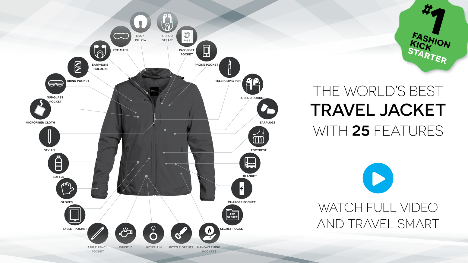 The worlds best travel jacket with 25 features baubax 20 by travel jackets with built in neck pillow eye mask gloves blanket gumiabroncs Choice Image