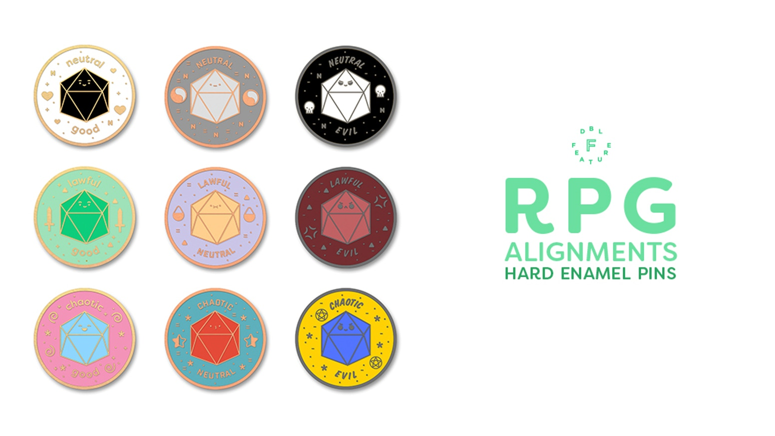 Represent your chosen character alignment with our RPG Alignments Hard Enamel Pins!
