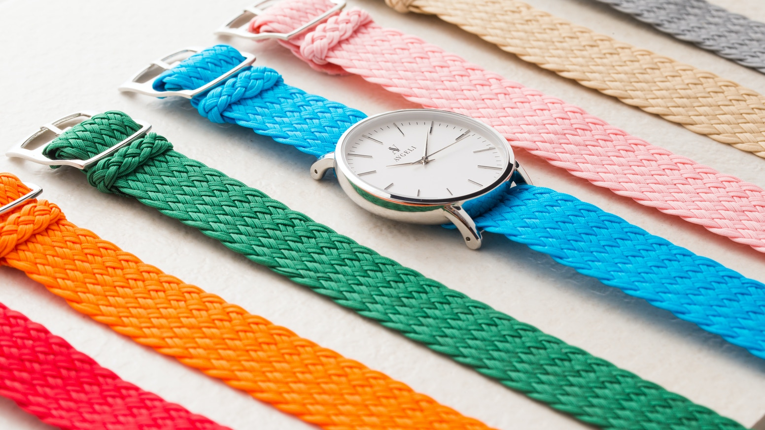Reflecting simplicity & individuality, Avgeli is designed with high quality components, including our unique double weave perlon straps