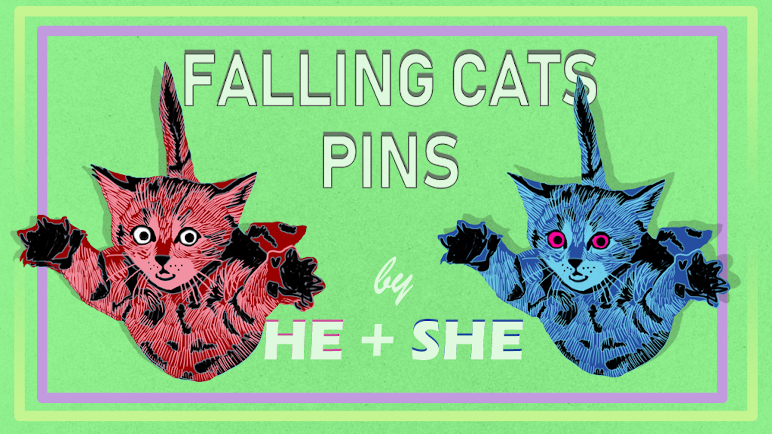 Why do you need these pins? Because you love cats! Save them by pinning them to your jacket so they don't fall. Red, blue or both!