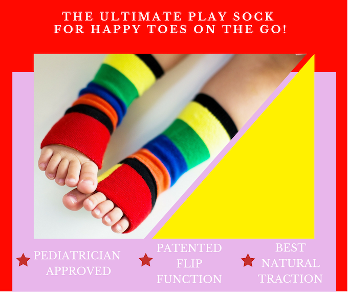 Sockabu offers the best-ever natural traction, using your toddler's own toes!