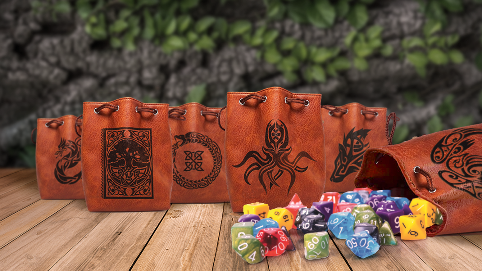 A new series of dice bags featuring Easy Roller Dice Co. original art. Each bag closes easily and is designed to hold hundreds of dice!