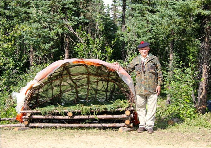 Mors Kochanski with his Super Shelter. Image credit Masterwoodsman.com