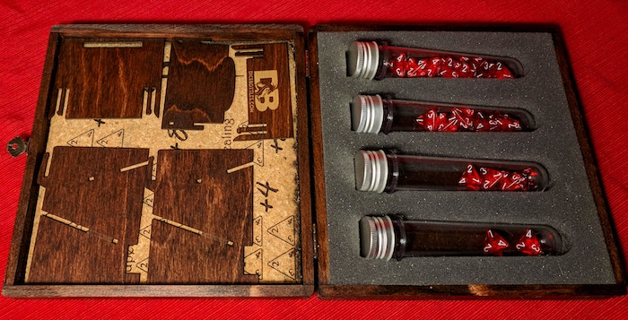 Unassembled Dice Tower ($20k goal) and Red Mahogany box stain ($30k goal)