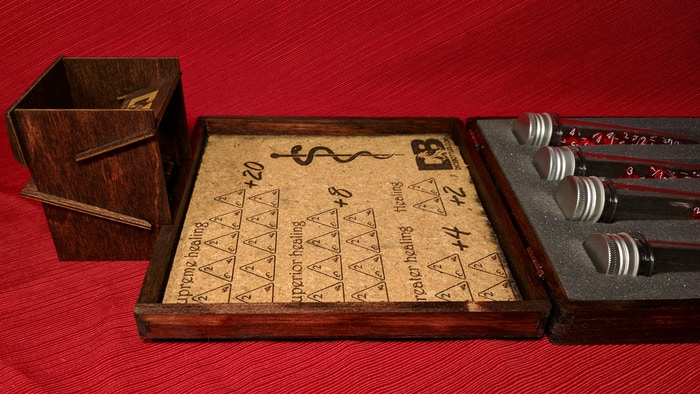Assembled Dice Tower ($20k goal) and Red Mahogany box stain ($30k goal)
