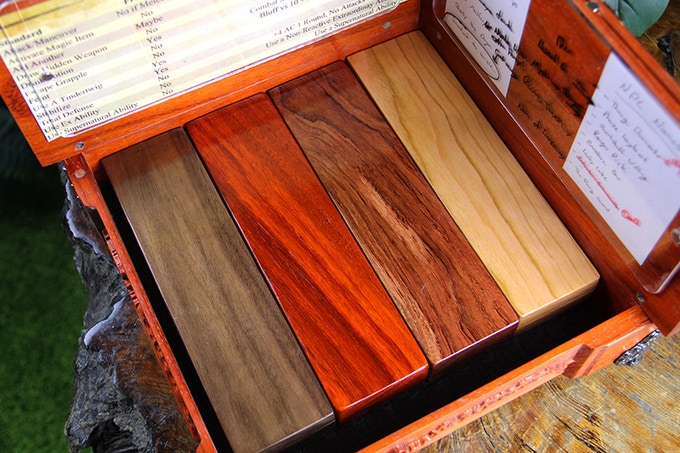 Species from left to right: Walnut, Padauk, Bubinga, Cherry.
