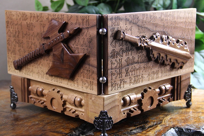 Black Walnut GM System with Flaming Sword and Axe Sculpts, Cogs Design, and Runes Engraving.
