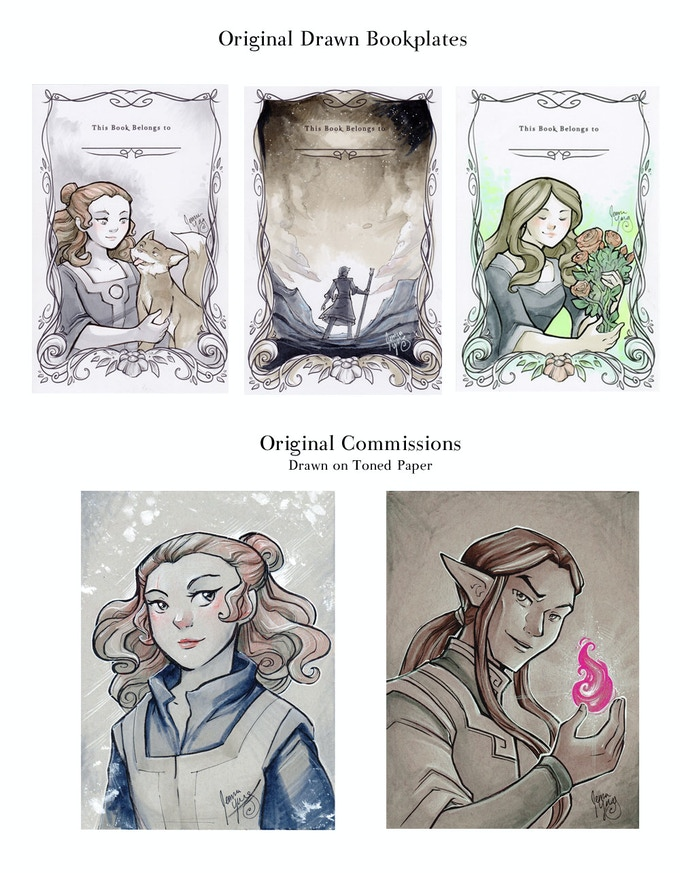 Commission and Drawn Bookplate Examples