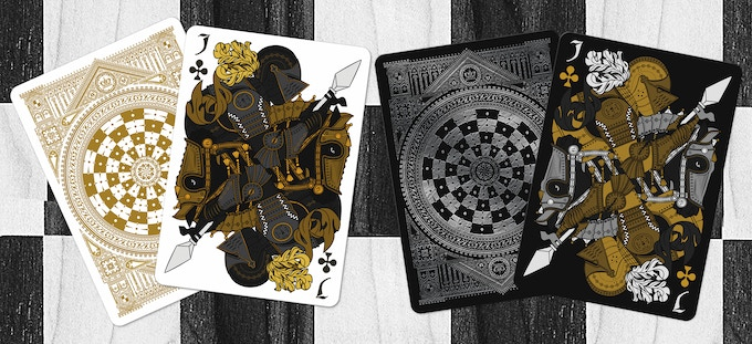 Black Knights as the Jack of Clubs (Black deck on left & White deck on right)