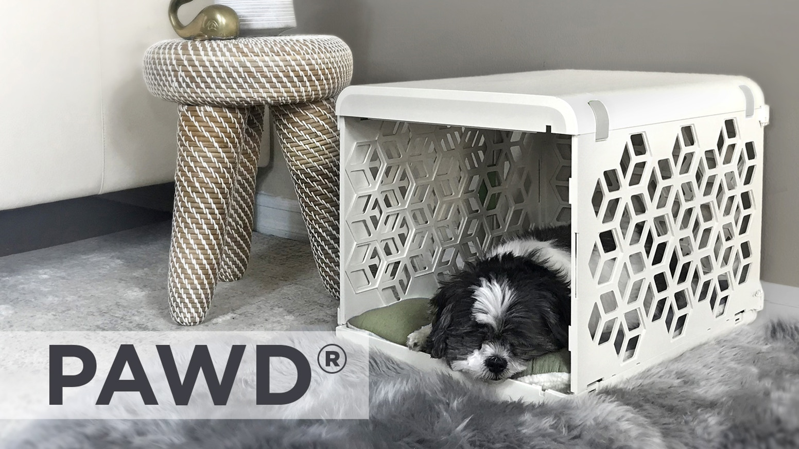 Beautiful, lightweight, collapsible nesting space. Train your pet in the coziest space that easily integrates into modern homes.