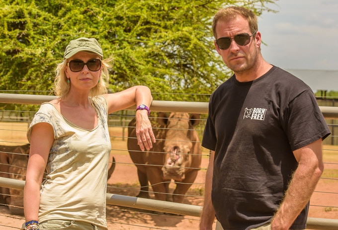 Margot Raggett with our ambassador,  Born Free Patron actor Dan Richardson visiting the work of Saving The Survivors, Nov 2017