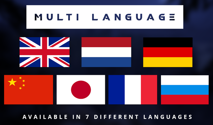 Available in - English, German, Russian, Chinese, Japanese, Dutch, French