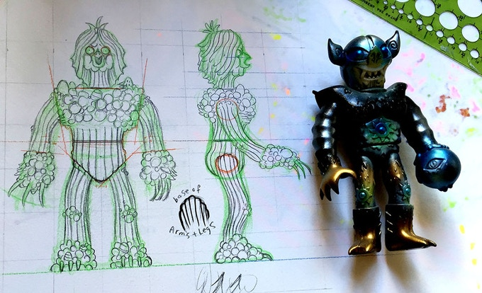 Here's a bit of the original sketches I sent to my sculptor Beth Graves of our new pal Malba