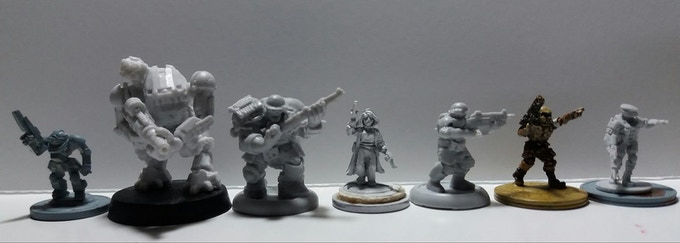 From left to right: 6mm GZG, 6mm Black Earth Hulk battlesuit ,15mm Black Earth Brute Raider, Darkest Star,15mm Black Earth UEF Infantry, Khurasan, WhiteDragon