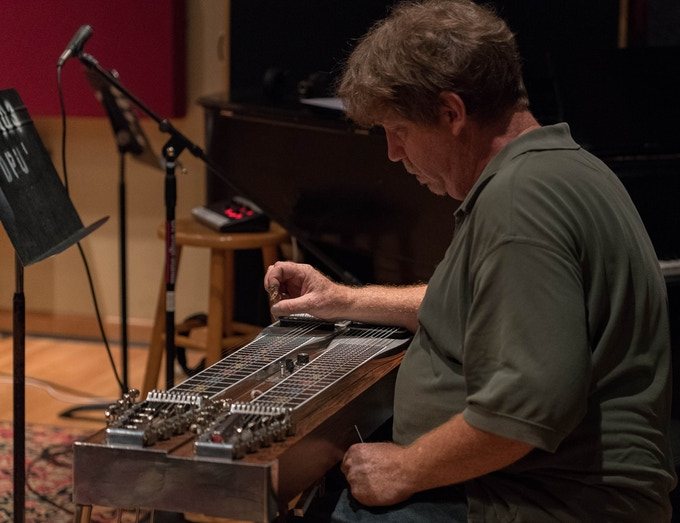Brian Wilkie is equally gifted on pedal steel and guitar. His solos throughout the album are daring and unforgettable. (photo by Tim Brown)