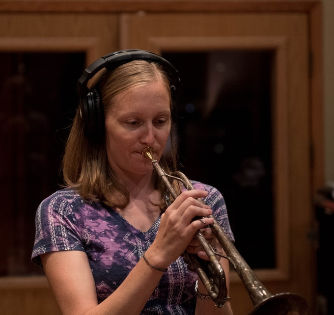 """My Old Town School colleague Anna Jacobson saved the day when she added trumpet to """"It's Just That Simple."""" (photo by Tim Brown)"""