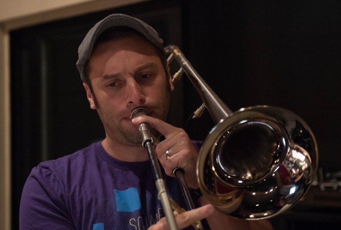 """Anna's husband Evan Jacobson threw down some very important trombone notes on """"It's Just That Simple,"""" too. (photo by Tim Brown)"""