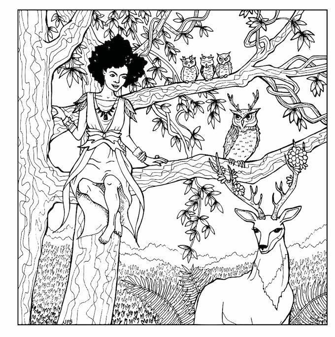 Druid with animals